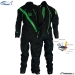 202 Dry Fashion KUIVAPUKU / DRYSUIT Profi Sailing Regatta, Color 82 Black with Green Zipper and reflector piping, Knee and seat reinforcement: Black