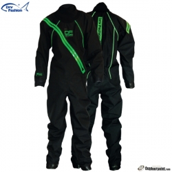 2020 Dry Fashion Drysuit kuivapuku SUP Performance. 82 Black with Green Zipper and reflector piping.