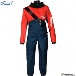 2020 Dry Fashion Drysuit Kuivapuku Standard Nylon, color 21 Red / bottom half: navy Knee and seat reinforcement: Navy